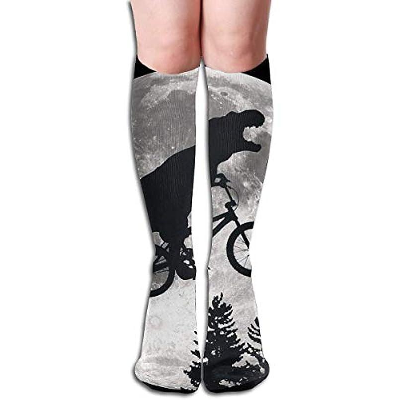 開拓者発行リスナーqrriy女性の恐竜自転車と月ソフトクリスマス膝高ストッキング靴下、クリスマス楽しいカラフルなドレスソックス