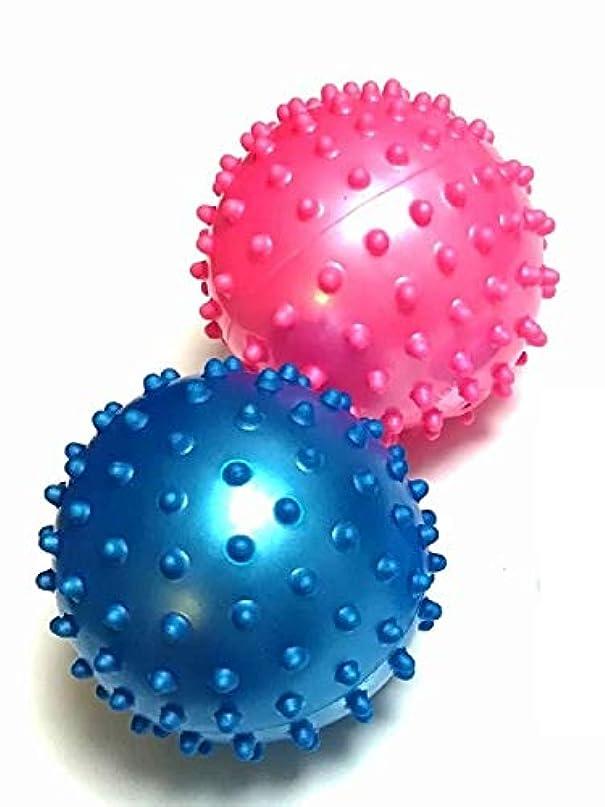 逃げる長方形繁殖トゲトゲ イガイガボール 2個 セット リハビリ , つぼ押し , マッサージ に 直径約8cm とげとげ ぼつぼつ BE&PK