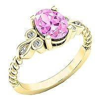 14K イエローゴールド 8x6mm オーバル型宝石&ラウンドダイヤモンド レディース ユニーク ヴィンテージ 婚約指輪
