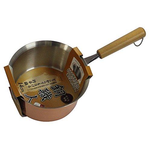 パール金属 雪平鍋 14cm ガス火専用 どこからでも注げる 銅鍋 銅職人 日本製 HB-1584