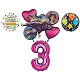 Mayflower Products アラジン 3歳の誕生日パーティー用品 プリンセス ジャスミン 風船 ブーケ デコレーション - ピンクナンバー3