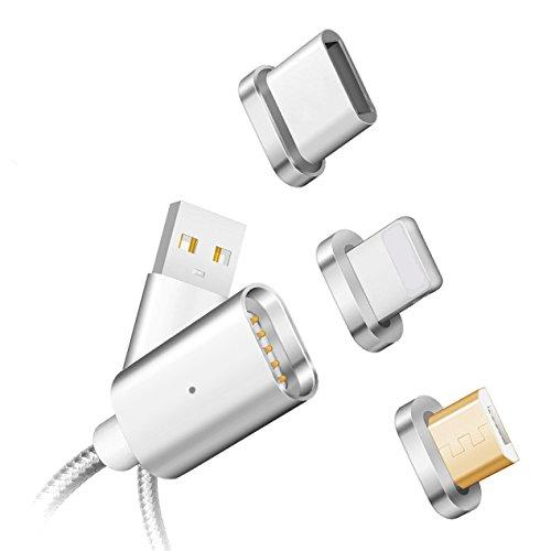 Animo(アニモ) マグネット式 ケーブル 3in1充電ゲーブル lightning+Micro+Type C 対応USBゲーブル 高耐久ナイロン データ通信転送 急速充電 LED Light付き iPhone/Androi/Type Cに対応 (3in1シルバー)