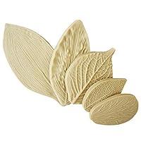 2018 5pcs / setクリエイティブリーフ型ケーキ装飾金型フォンダンシリコーンケーキ型葉型ベーキングツール用シリコーンフォーム:ベージュ
