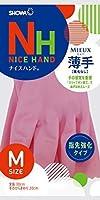 ショーワグローブ【指先強化タイプ】ナイスハンド ミュー 薄手 Mサイズ ピンク 20双