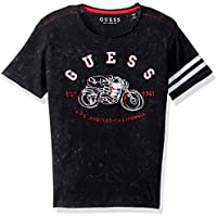 Guess Boys' Big Short Sleeve Motocycle Graphic T-Shirt, Jet Black