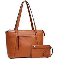 "Plambag Faux Leather Tote Bag for Women 14"" Laptop Shoulder Handbag with Wristlet Purse"