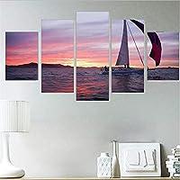 Xueshao 家の装飾キャンバス絵画5ピースHdウォールアート海の波風景モジュラー用ベッドサイドの背景写真アートワークポスター-30X40Cmx2 30X60Cmx2 30X80Cmx1