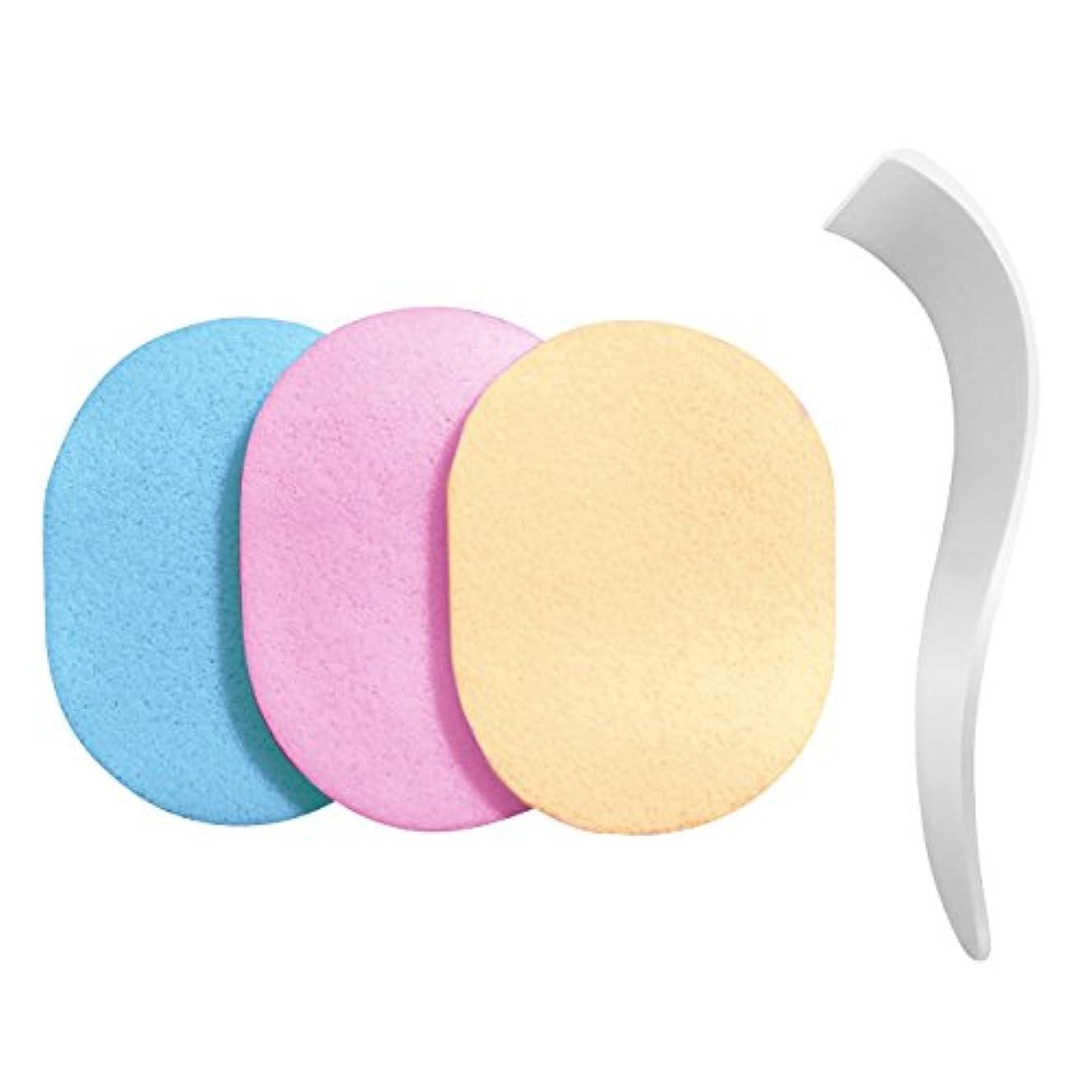 フロー効果くすぐったい【除毛用】s-fit 専用ヘラ スポンジ 洗って使える 3色セット 100%PVA 除毛クリーム専用 メンズ レディース