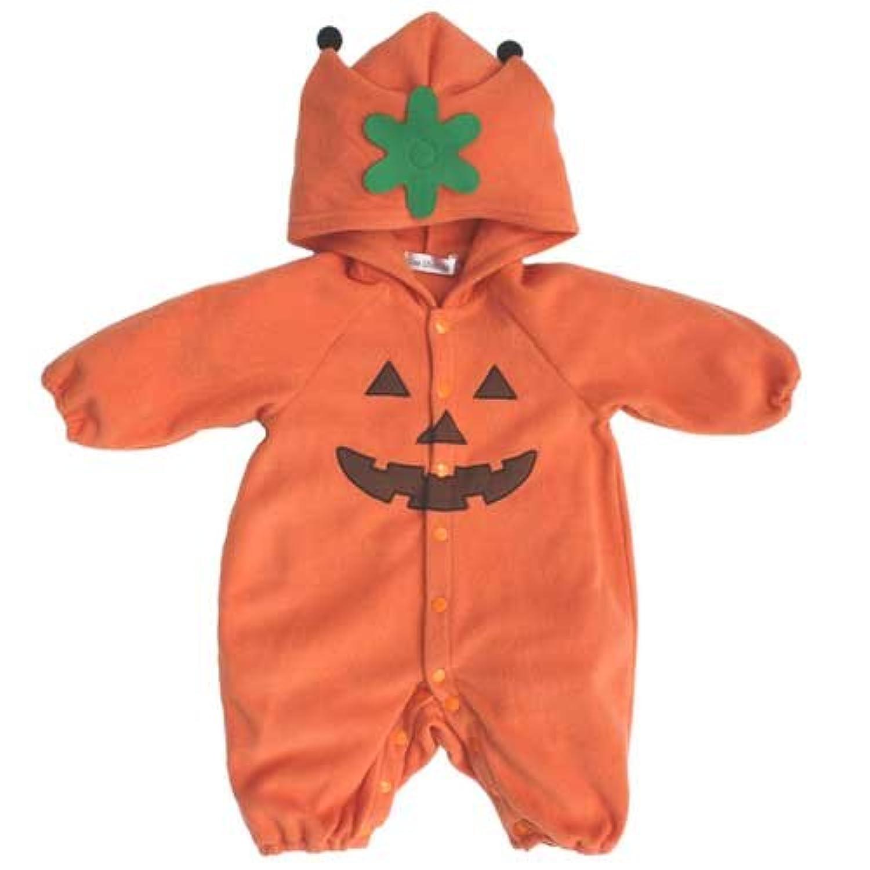 【ハロウィン】 かぼちゃフリースカバーオール (60cm)