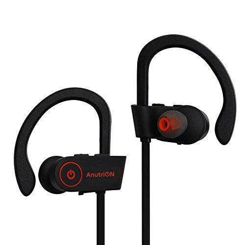 AnutriONブルートゥースイヤホン スポーツイヤホン ランニング耳掛けイヤホン ワイヤレスbluetooth4.1 スポーツ仕様、防汗 防水 CVC6.0 ノイズキャンセリング搭載 高音質 iPhone&Android などのスマートフォンに対応(ブラック)