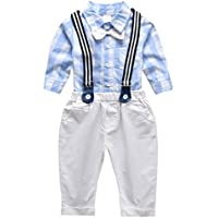 Camidy 1-6 Years Kids Bow Tie Shirt Suspenders Pants Boys Gentleman Outfits Clothes Set