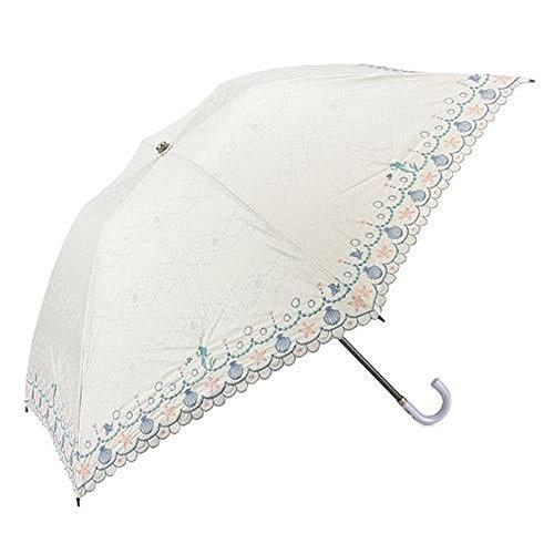 ディズニー刺繍 晴雨兼用 折傘 (ホワイト アリエル)