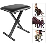 Neewer Adjustable Foldable X-Style Piano Bench Stool Keyboard Bench - Padded Cushion Deluxe Comfort, Iron-Made Legs for Piano, Keyboard, Vanity Table(Black)