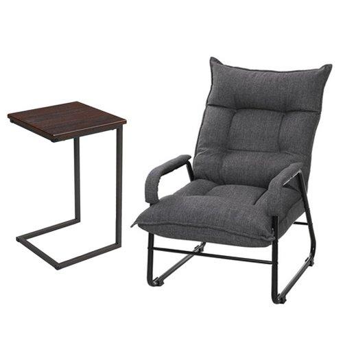 【セット買い】脚付き座椅子 RHIC-GY + サイドテーブル(小) GST3030-BR