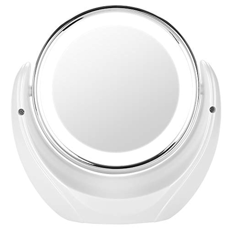 厚くするキャンセル摂動化粧鏡 折りたたみ 化粧ミラー 女優ミラー 照明機能 5X 7X 拡大 明るさ調節可能 曲形 吸盤付き 回転可能 電池&USB 2WAY給電 口紅 小物 収納 (コンパクトミラー 5X)