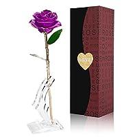 GRECEDAY Love Forever ロングステム ゴールドホイルトリム レッドローズフラワー 透明スタンド付き バレンタインデー、母の日、記念日、誕生日ギフトに最適 自分へのご褒美に バレンタインデーの贈り物に パープル