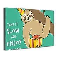 絵画家族 Birthday Sloth フレームレスペインティング モダン絵画 油絵 水彩画 現代絵画 アートパネル 壁飾り 壁掛け 風景 自然 動植物 玄関 インテリア 贈り物 お洒落