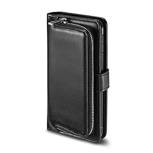 iphone8 ケース iphone7ケース 手帳型 レザーケース スマホケース ファスナー設計 鍵/おつり/コイン/カード収納 アイフォン 8/7 用 耐衝撃カバー pw (iPhone8/iPhone7, ブラック)