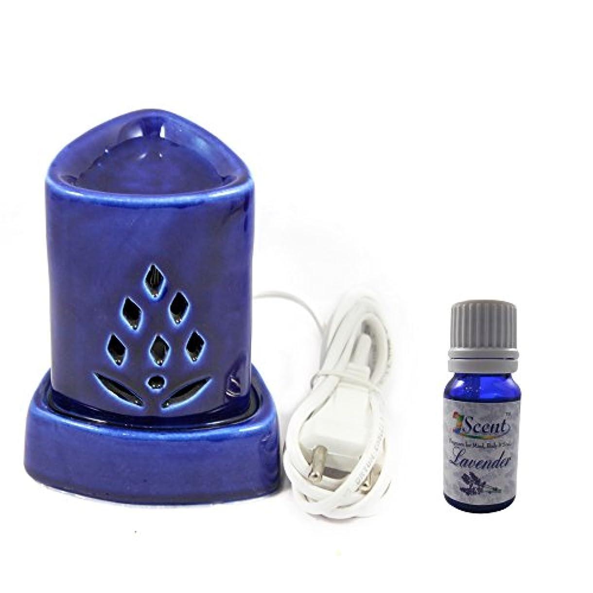ホームインテリア定期的に使用する汚染フリーハンドメイドセラミックエスニックアロマディフューザーオイルバーナーサンダルウッド香油良い品質ブルーカラー電気アロマテラピー香油暖かい数量1