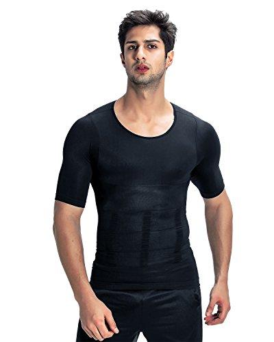 加圧インナー コンプレッションウェア【品質保証】お腹引き締め スポーツウェア 筋肉 Tシャツ コンプレッションインナー 補正下着 メンズ (M, ブラック)