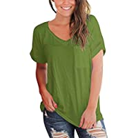 Women's Casual Short Sleeved Pocket Solid Blouse V-Neck T-Shirt Tops (Color : Army Green, Size : 18)