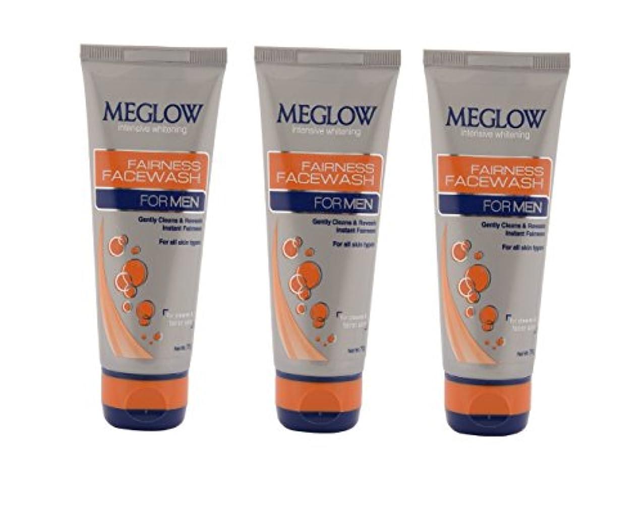あさり蜜レンドMeglow Intensive Whitening Fairness Face Wash For Men 70 G (Pack of 3)