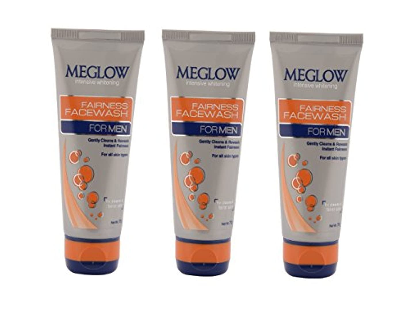 サロン醜いペネロペMeglow Intensive Whitening Fairness Face Wash For Men 70 G (Pack of 3)
