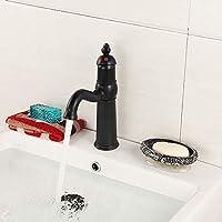 洗面台の蛇口、浴室の洗面台360°スイベルミキサータップシングルハンドルキッチンシンク真鍮蛇口ワンホール洗面台用蛇口キッチンとバスルーム,Black,Short