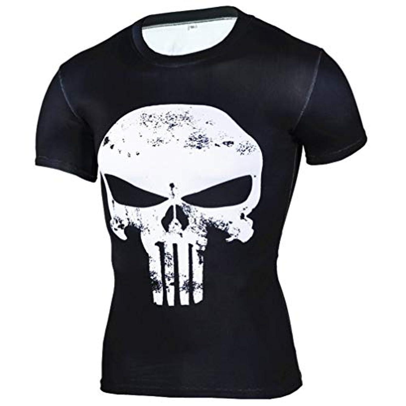 写真を撮るボウリング兄弟愛メンズ Tシャツ半袖 Punisherパニッシャー 吸汗速乾 コンプレッションウェア パワーストレッチ アンダーウェア