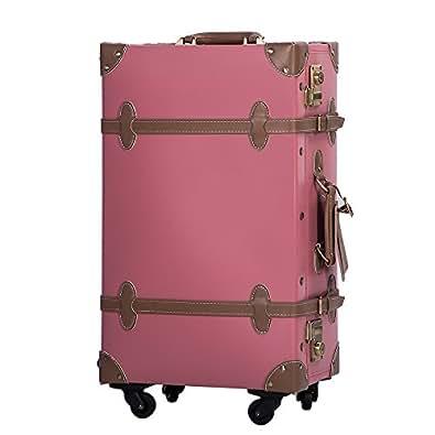 [OSJ]トランクケース TSAロック 四輪 超軽量 キャリーケース 【復古主義】 (S, ピンク)