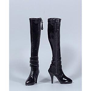 1/6 ブーツ ジップアップ 長靴 フィギュア用 女性 フットパーツなし ドール 人形 アクセサリー 全3色 (黒)