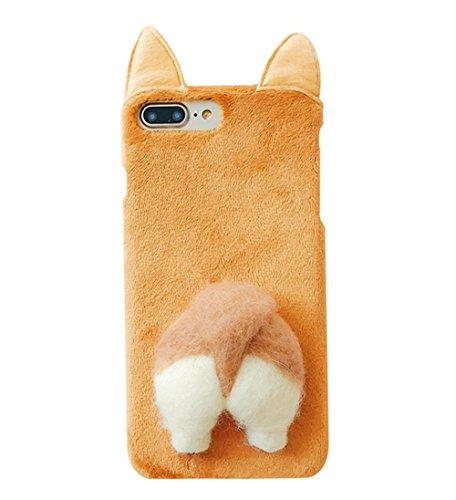 iPhone 8 ケース ネコ耳柄 猫 コーギーのお尻 面白いデザイン ふわふわ PCハート スタンド機能付き iPhone 7 カバー (iPhone 7 / 8, ブラウン)