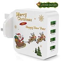 Gvoo USB充電器、iSmartテクノロジーを搭載した4ポート40W / 5V 8AウォールチャージャーサンタクロースUSBプラグおよびその他のデバイス用のマルチプロテクション(限定クリスマスホリデーエディション) - A