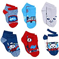 Thomas & Friends Little Boy's 6-Pack Character Quarter Socks, Toddler Shoe Size 4-7, Blue/Red