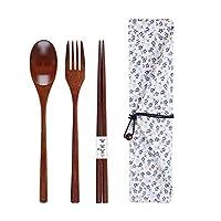 OUNONA 木製箸セット カトラリー セット お弁当 スプーン フォーク 箸 箸袋4点セット 携帯便利 通勤 旅行 キャンプ(青い花)