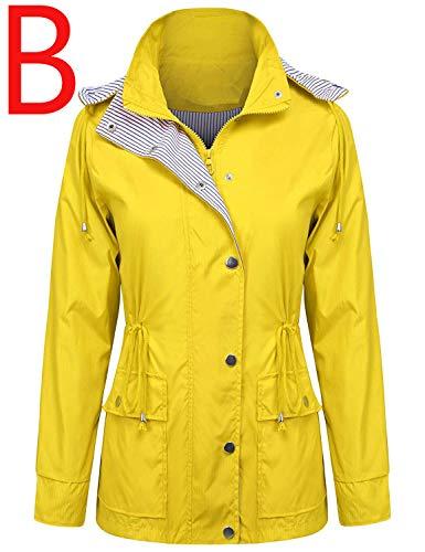 ZEGOLO Women Rain Jacket Lightweight Hooded Waterproof Active Outdoor Trench Raincoat Yellow