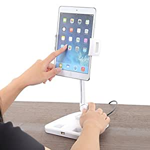 PlumRiver 卓上 スマホ タブレット スタンド アームスタンド USBジャック付き スマートフォン iPhone iPad android ホルダー スタンド 端末用 アクセサリー 周辺機器 角度調整可能 4から11インチまで対応
