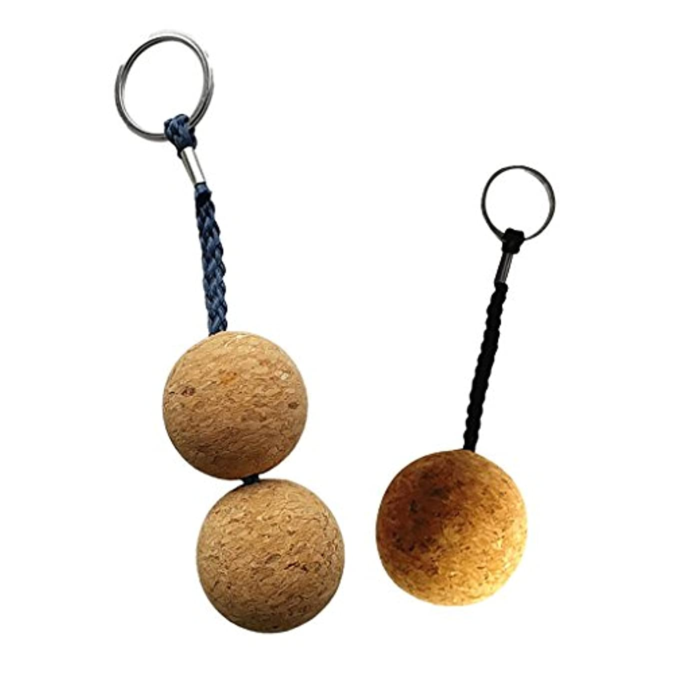 ラオス人送った桁Perfeclan 携帯便利 使いやすい ダブル&シングル ボール コルク フローティング キーリング ボート マリンセーリング フロート