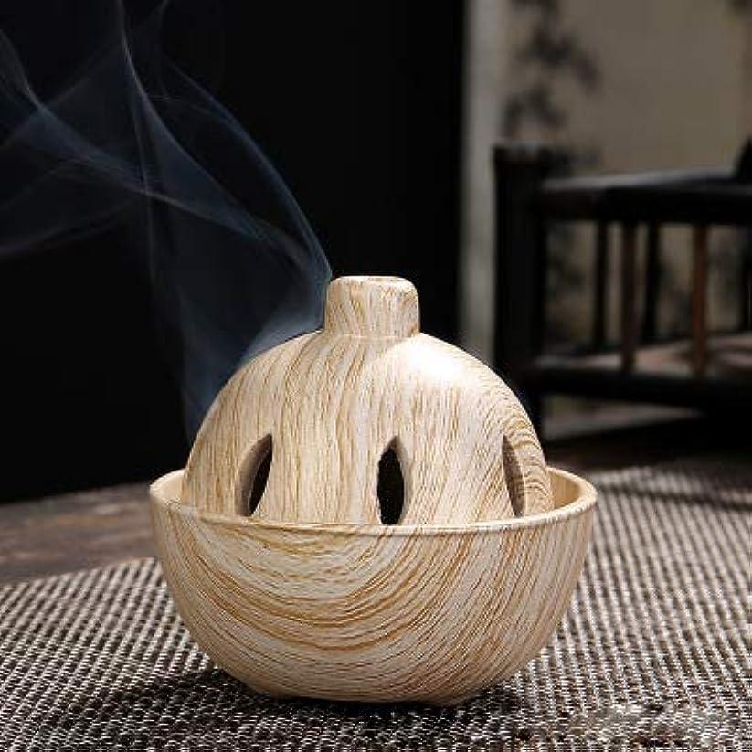 歩道手入れ然としたPHILOGOD 陶器香炉 クリエイティブスタイリング 仏壇用 渦巻き線香立て 香皿 (Brown)