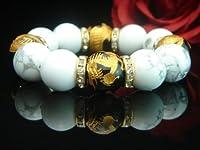 AAAランク16ミリ数珠/ブレスレット ( 手彫り金箔入り風水四神オニキス・ハウライト) Mサイズ内周16.0cm前後