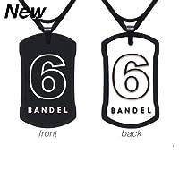 登山・トレッキング用品・アクセサリー[バンデル]ナンバーネックレス No.6 リバーシブルタイプ(ブラック&ホワイト)45cm(縦30mm横18mm)[BANDEL]