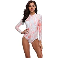 Lynddora Women's Floral One Piece Rash Guard Swimsuit Sun Protection