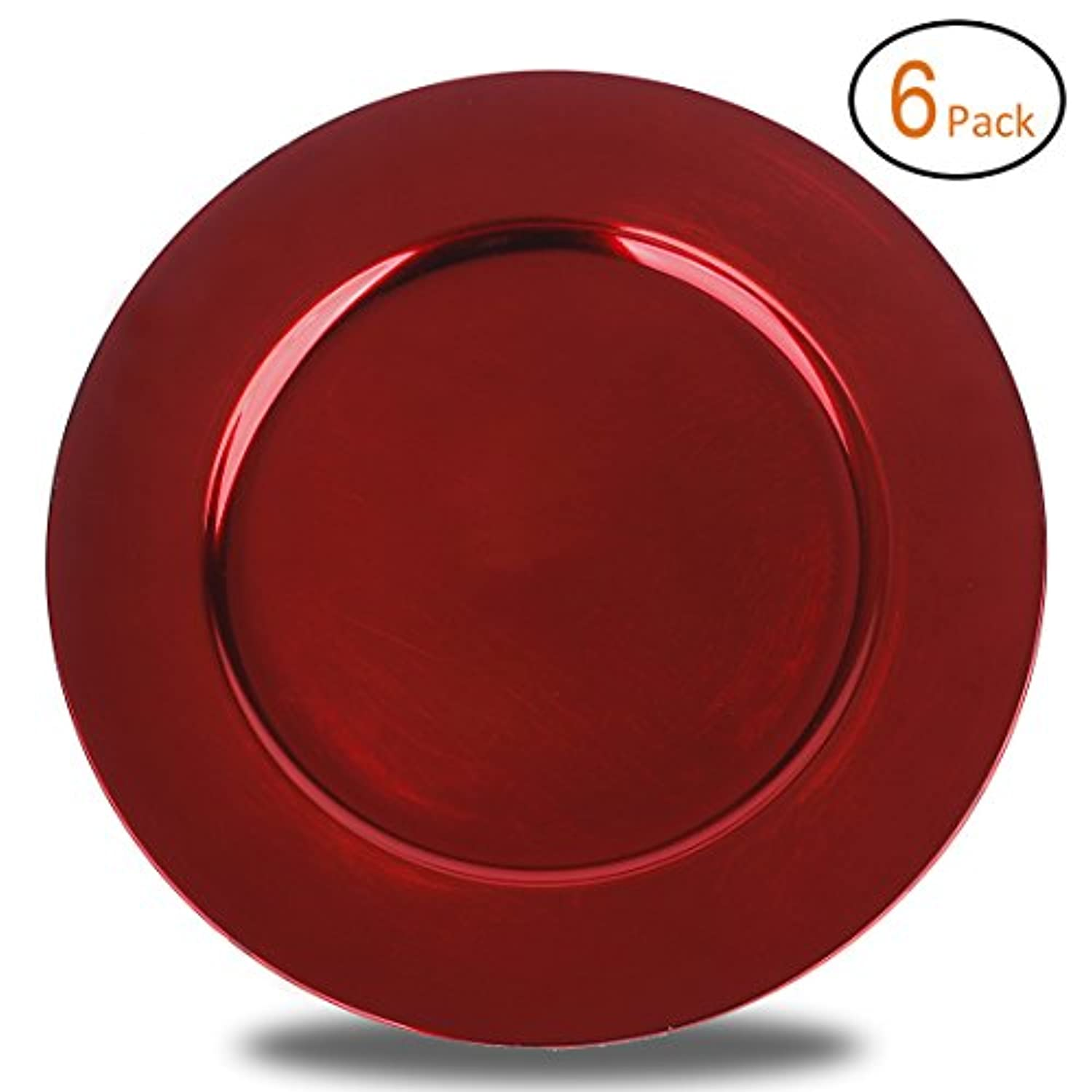 Fantastic:)?6pcs/Set Classic Design Round 13x13 Charger Plates with Metallic Finish (Set of 6, Plain Red) by Fantastic:)