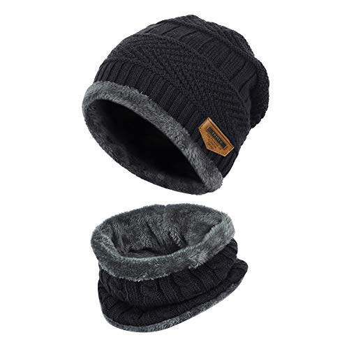 VBIGER 子供 ニット帽子とネックウォーマー キャップ セット ビーニーキャップ サークルスカーフ裏地付きサ...