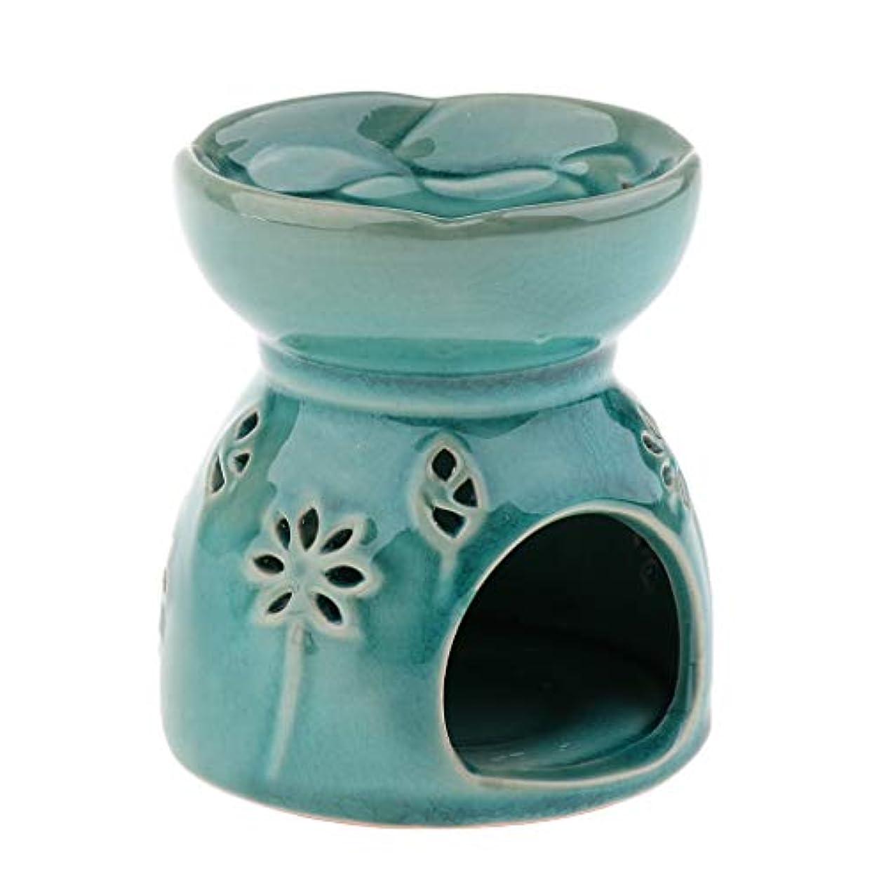 唯物論祈りプラットフォームFenteer アロマ エッセンシャルオイル バーナー ディフューザー セラミック 装飾 置物 実用的 全2色 - 青