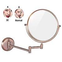 浴室化粧鏡、8インチウォールマウント拡大丈夫両面調整可能な化粧品シェービング化粧品拡張可能な回転,3X