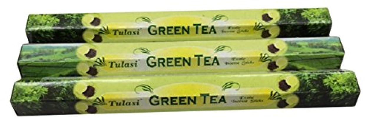 再生的やる葉っぱTULASI サラチ STICKS お香 60本入り GREEN TEE グリーンティー 640187-3