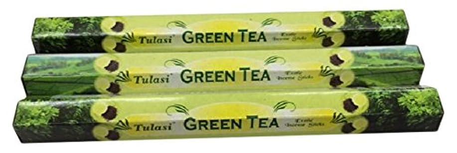 ビジネスバー潜在的なTULASI サラチ STICKS お香 60本入り GREEN TEE グリーンティー 640187-3