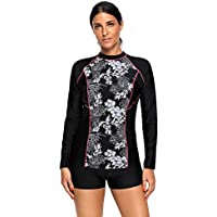 Maketina Womens Floral Print Long Sleeve Rashguard Swimwear Athletic Top Sun Guard UPF 50+
