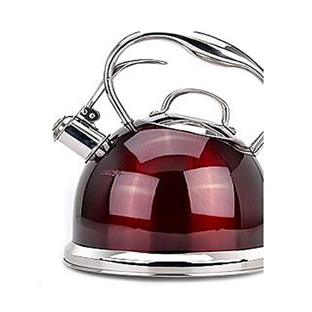 おなじみのピーブロマンスHongyushanghang ゴージャスなティーポットを選択してください、私の最速の沸騰を笛、外科用ステンレス鋼のティーポット - コンポジットボトム3Lペールゴールド 明るい (Capacity : 3L, Color : Red)
